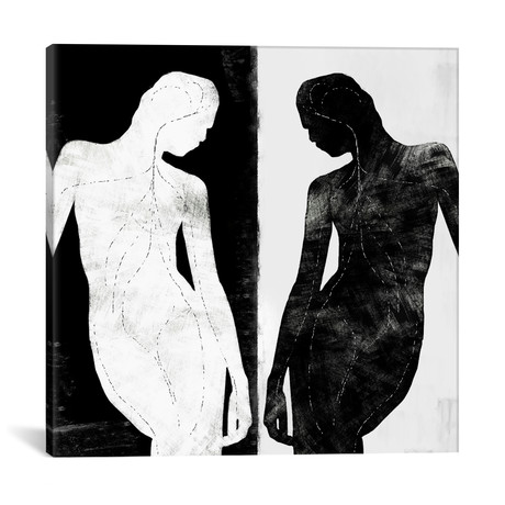 "Modern Art // Contrasting Silhouette Figure // 5by5collective (18""W x 18""H x 0.75""D)"