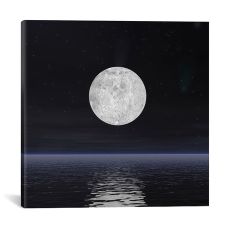 "Full Moon On A Dark Night With Stars And Comets Over The Ocean // Elena Duvernay (18""W x 18""H x 0.75""D)"