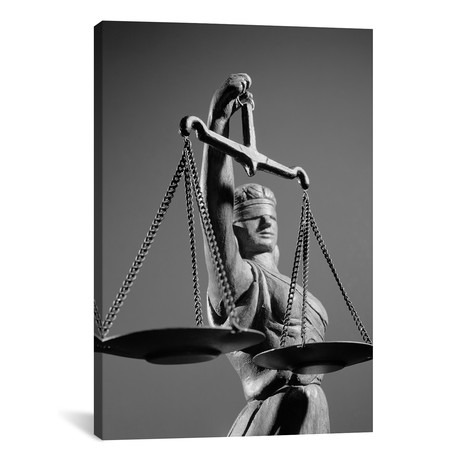 "Statue Of Blind Justice Holding Scales // Vintage Images // 1970s (18""W x 26""H x 0.75""D)"