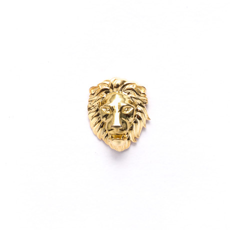 Poised Royal Lion Head Lapel Pin (Gold)