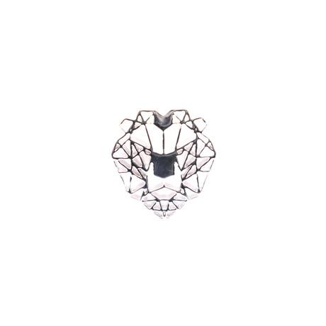 Geo Facet Lion Head Lapel Pin (Gold)