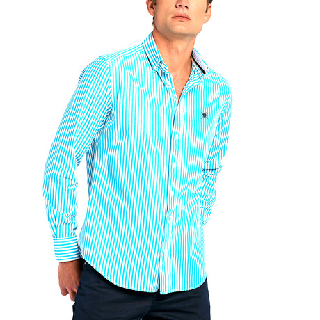 Striped Button-Up Shirt // Turquoise (S)