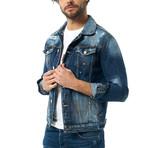 Button-Up Denim Jacket // Navy (2XL)