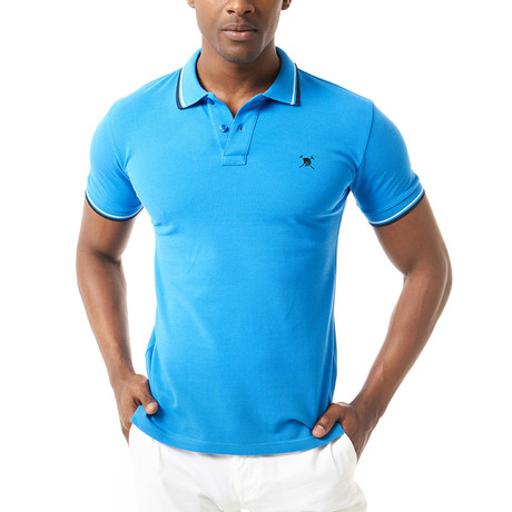 Contrast Stripe Short-Sleeve Polo // Sax (XL)
