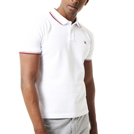 Contrast Stripe Short-Sleeve Polo // White (S)