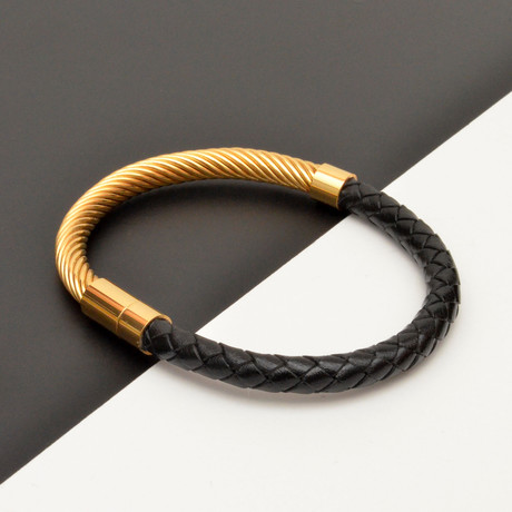 Twisted Steel + Braided Leather Bracelet // Black + Gold