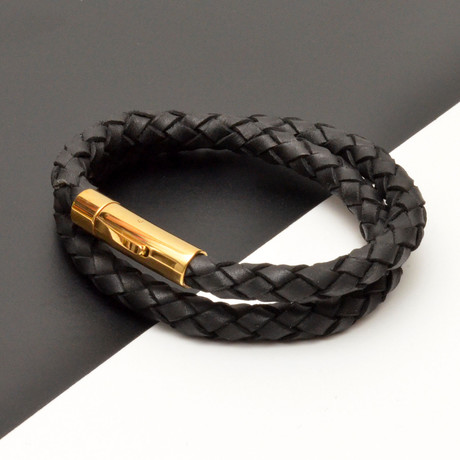 Braided Leather Double Wrap Bracelet // Black + Gold