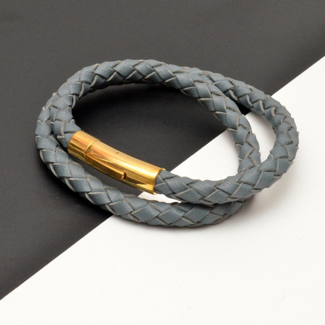 Braided Leather Double Wrap Bracelet // Gray + Gold