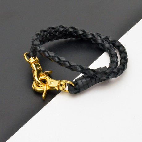 Leather Double Wrap Bracelet // Hinge Clasp // Black + Gold