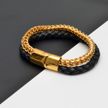 Braided Leather + Chain Bracelet // Black + Gold