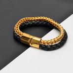 Braided Leather + Chain Bracelet // Black + Gold