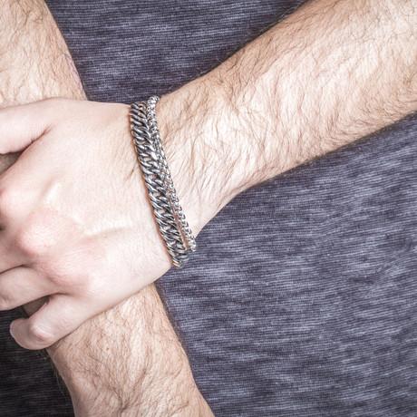 Cuban + Rolo Chain Bracelet // Silver