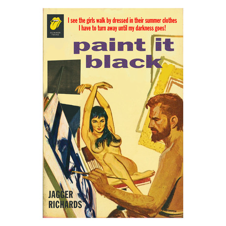 "Rolling Stones ""Paint It Black"" Beatnik Art Studio Pulp Novel Mashup (8.5""W x 11""H x 0.1""D)"