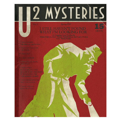 "U2 ""I Still Haven't Found What I'M Looking For"" 1930s Detective Pulp Magazine Mashup (8.5""W x 11""H x 0.1""D)"