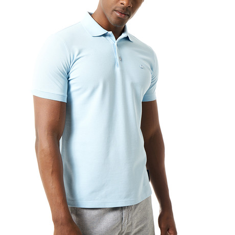Solid Short Sleeve Polo // Blue (S)