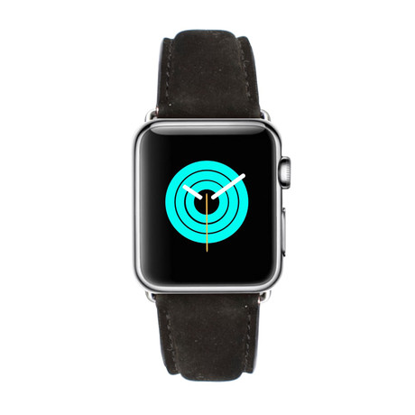 Suede Leather Apple Watch Band // Black (38mm-40mm // Stainless Steel Clasp)