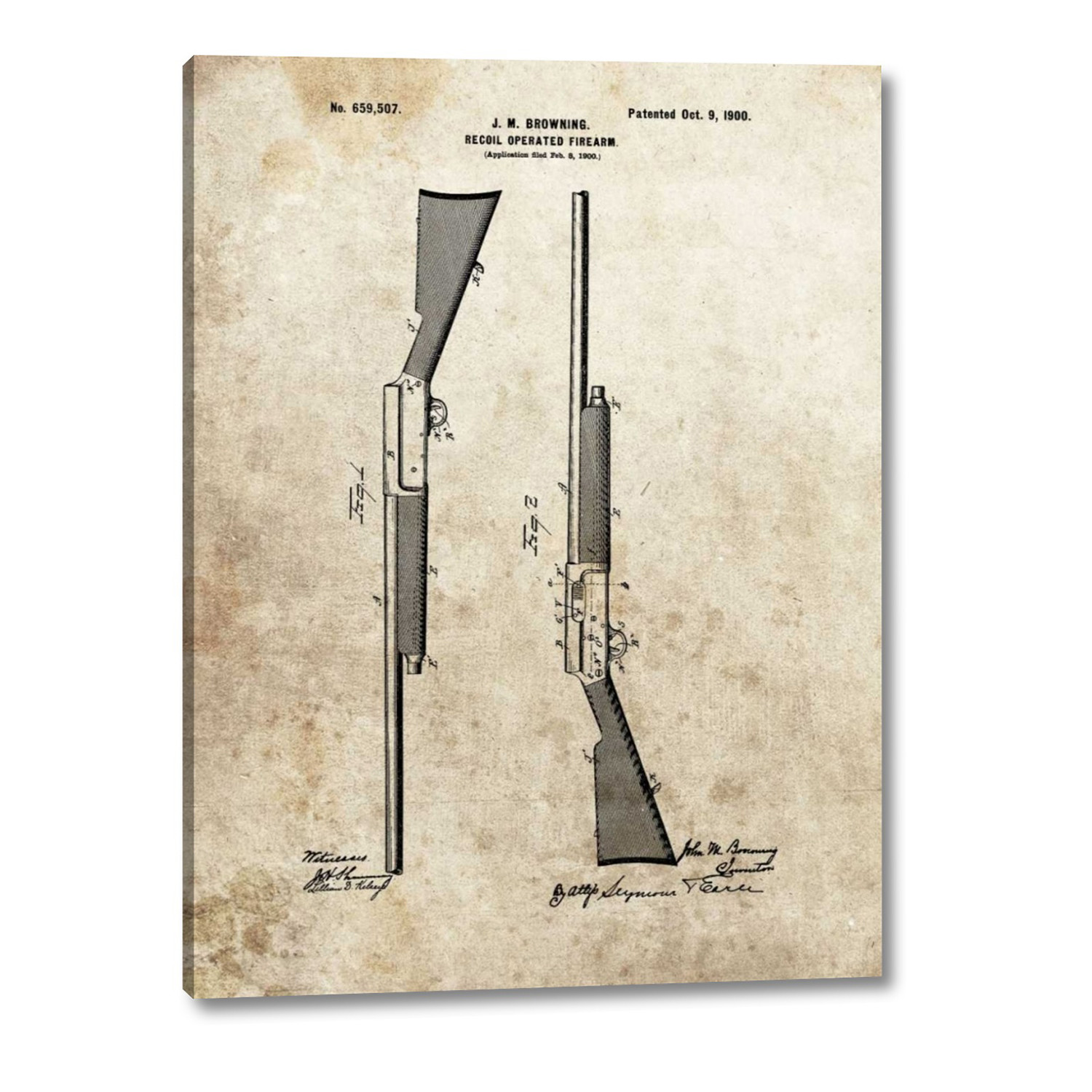 Recoil Operated Firearm 1900 Dan Sproul 18 H X 24 W X 1 25 D Printart Touch Of Modern
