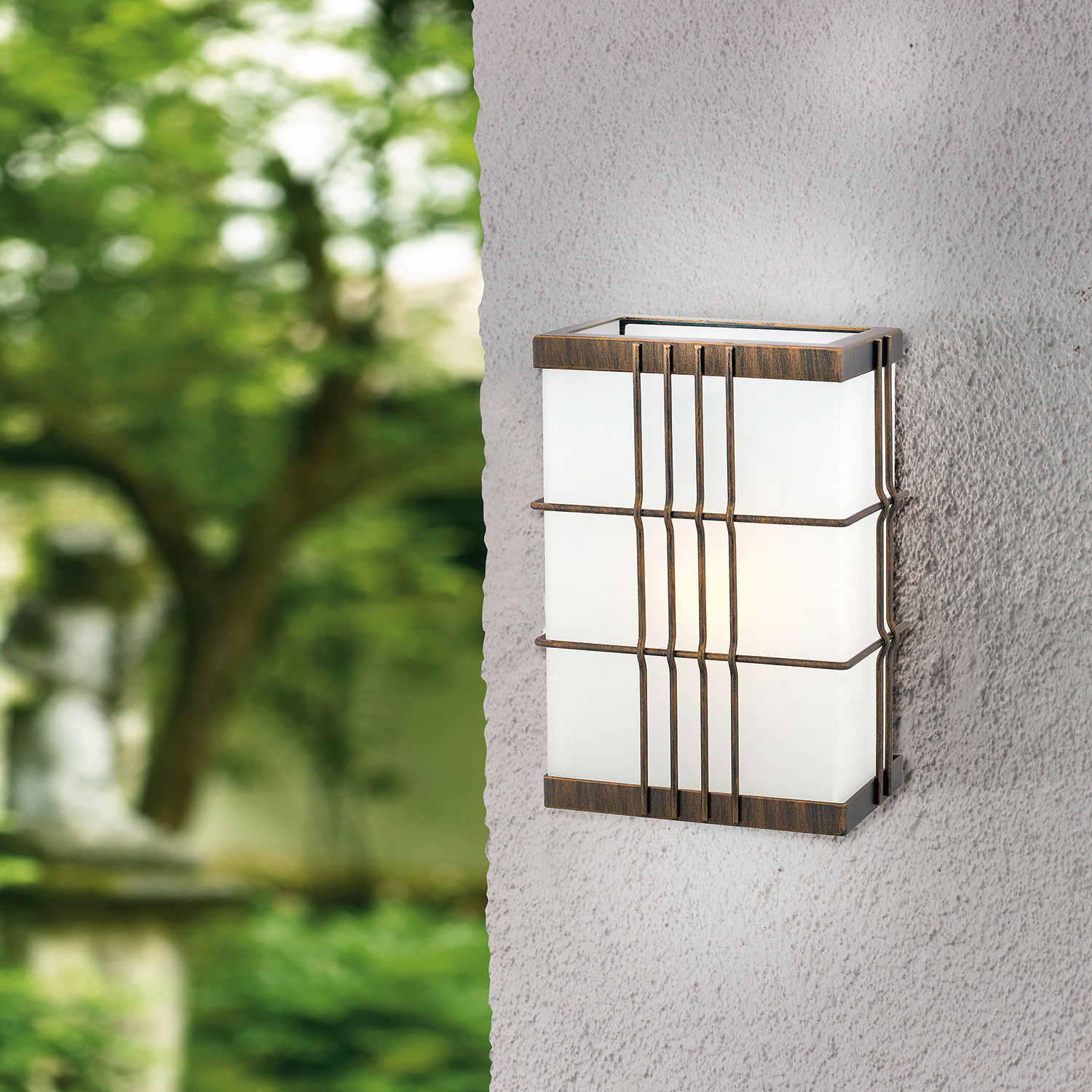 Outdoor Wall Light // Rustic Bronze + Etched White Glass ...