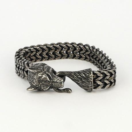 Dell Arte // Viking Wolf Head Bracelet // Silver