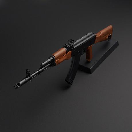 Classic AK47 1:4 Scale DieCast Metal Model Gun + Display Stand // Black + Brown