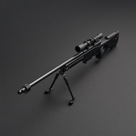 L96 Sniper Rifle 1:4 Scale Diecast Metal Model Gun + Scope + Bipod // Black