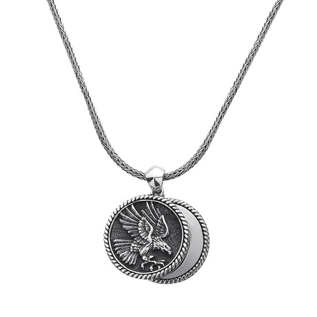 Double Coins Eagle Necklace // Silver