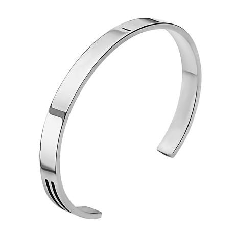 "Black Onyx Bars Cuff Bracelet // Silver (2.5"" Diameter)"