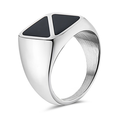 Black Onyx Square Signet Ring // Triangle Pattern // Silver (7)