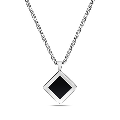 Square Tag Classic Chain Black Onyx Necklace // Silver