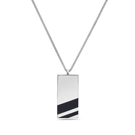 Dog Tag Classic Chain Black Onyx Necklace // Silver
