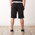 Two-Tone Faux Stitched Pocket Sweatshorts // Black (XL)