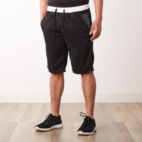 Two-Tone Faux Stitched Pocket Sweatshorts // Black (S)