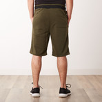 Two-Tone Faux Stitched Pocket Sweatshorts // Olive (S)