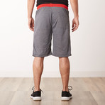 Striped Zipper Pocket Two-Tone Racer Sweatshorts // Charcoal (S)