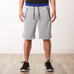 Striped Zipper Pocket Two-Tone Racer Sweatshorts // Heather Gray (L)