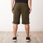 Two-Tone Sweatshorts // Olive + Black (XL)