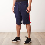 Racer Striped Sweatshorts // Navy (L)