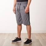 Racer Striped Sweatshorts // Charcoal (M)