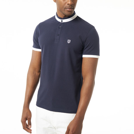 Collarless Short-Sleeve Polo // Navy (XS)