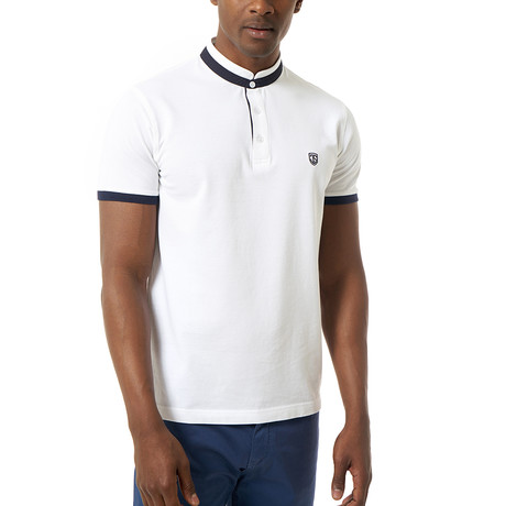 Collarless Short-Sleeve Polo // White (XS)