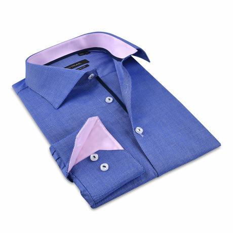 Button-Up Shirt // Royal Blue + Pink (S)
