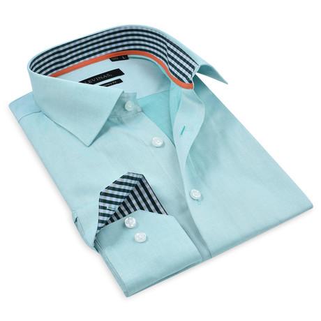 Button-Up Shirt // Seafoam Green + Dark Green (S)