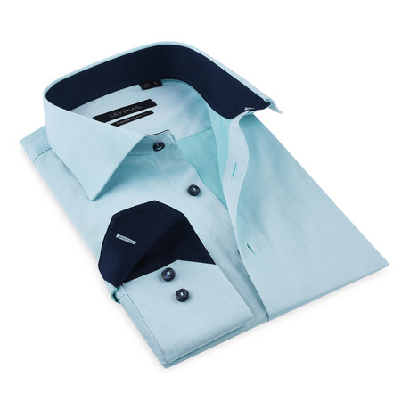 Henry Button-Up Shirt // Turquoise Green + Navy (S)