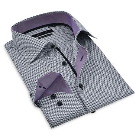 Lucas Button-Up Shirt // Black + Purple (S)