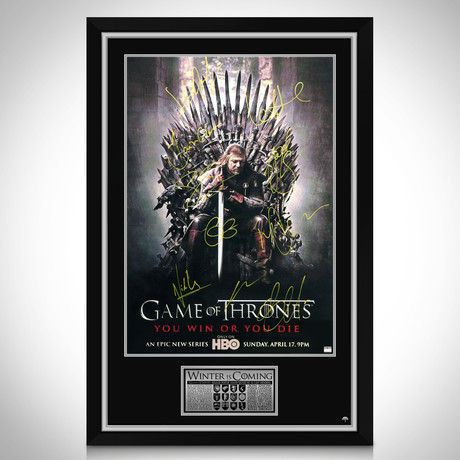 Game Of Thrones Iron Throne // Cast Hand-Signed Poster // Custom Frame