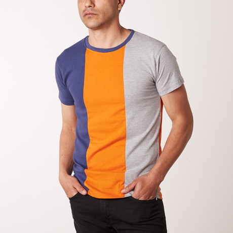 Drown Striped Crew Neck Tee // Orange (L)