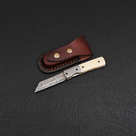 Handmade Damascus Liner Lock Folding Knife // 2720