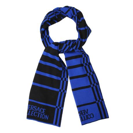 Versace // Unisex Scarf // Black + Blue