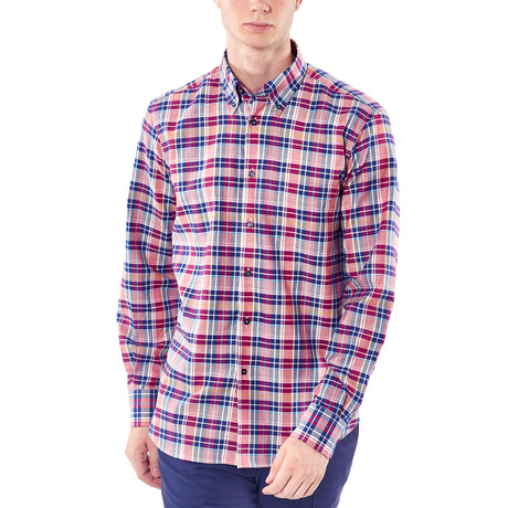 Plaid Button-Up Shirt // Red (XL)