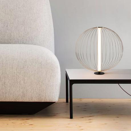 Spokes // Small Round Table Lamp // Satin Nickel